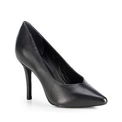 Туфли кожаные на шпильке с вырезом в сердце, черный, 89-D-753-1-37, Фотография 1