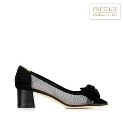 Туфли из замши с бантом и сеткой, черный, 92-D-102-1-37, Фотография 1