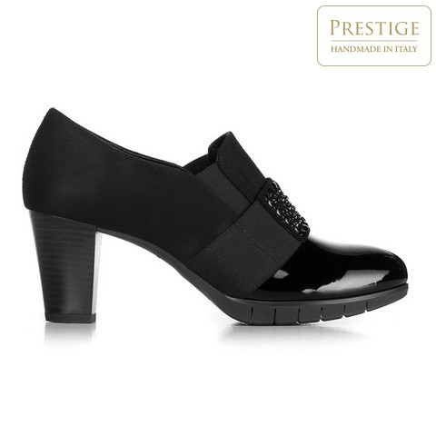 Туфли на каблуке-столбике с декоративной вставкой, черный, 92-D-652-1-41, Фотография 1