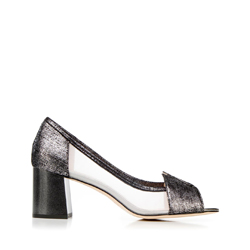 Туфли на каблуке прозрачные, черный, 92-D-955-1-36, Фотография 1