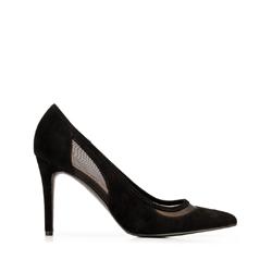 Замшевые туфли на каблуке с сеткой, черный, 92-D-550-1-38, Фотография 1