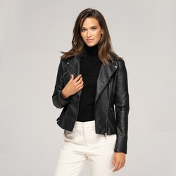 Куртка женская из экокожи, черный, 91-9P-101-1-S, Фотография 1