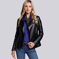 Женская байкерская куртка стеганая, черный, 93-9P-108-1-XL, Фотография 1