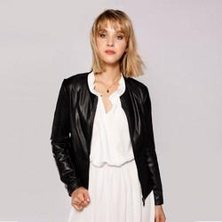 Женская байкерская приталенная куртка, черный, 92-9P-102-1-M, Фотография 1