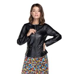 Женская байкерская куртка из овечьей кожи, черный, 92-09-800-1-L, Фотография 1