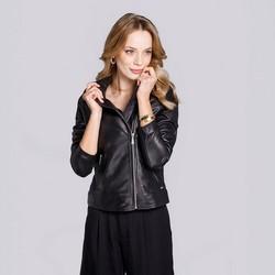 Женская кожаная байкерская куртка с воротником, черный, 92-09-603-1-M, Фотография 1