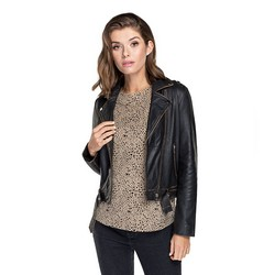 Женская кожаная куртка с эффектом потертости, черный, 91-09-701-4-M, Фотография 1