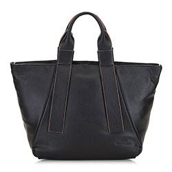 Женская кожаная прямоугольная сумка с удлиненными ручками, черный, 91-4E-322-1, Фотография 1