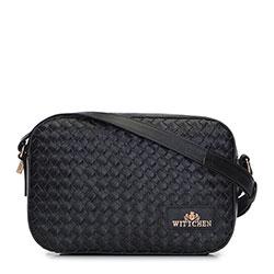 Женская кожаная сумка через плечо плетеная спереди, черный, 92-4E-903-1, Фотография 1
