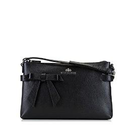Женская кожаная сумка через плечо с бантом, черный, 92-4E-308-1, Фотография 1