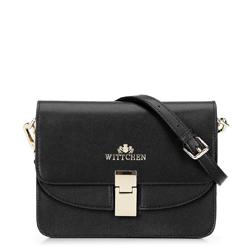 Женская кожаная сумка через плечо с двойным клапаном, черный, 92-4E-631-1, Фотография 1