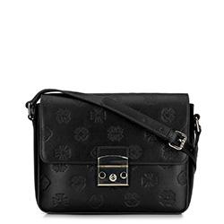 Женская кожаная сумка через плечо с монограммой, черный, 92-4E-692-1, Фотография 1