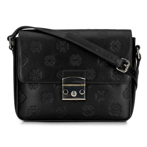 Женская кожаная сумка через плечо с монограммой, черный, 92-4E-692-Y, Фотография 1