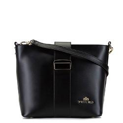 Женская кожаная сумка через плечо с пряжкой, черный, 92-4E-303-1, Фотография 1