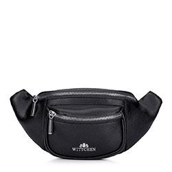 Женская кожаная  сумка на пояс с карманом, черный, 92-4E-634-1, Фотография 1