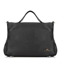 Кожаная сумка-шоппер из мягкой кожи, черный, 91-4E-316-1, Фотография 1