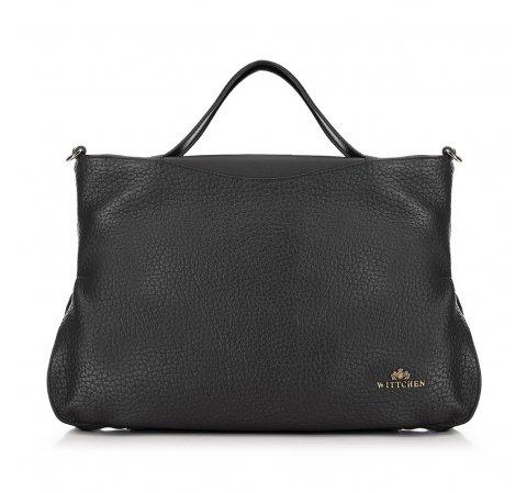 Кожаная сумка-шоппер из мягкой кожи, черный, 91-4E-316-5, Фотография 1