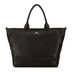 Кожаная сумка-шоппер с плетением, черный, 91-4E-318-1, Фотография 1