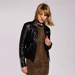 Женская куртка байкерская стеганая, черный, 92-9P-100-1-XL, Фотография 1