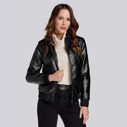 Женская куртка-бомбер из экокожи, черный, 93-9P-105-1-S, Фотография 1