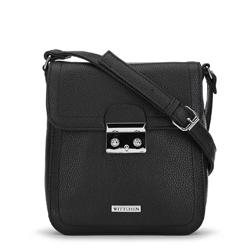 Женская маленькая сумка через плечо с замком, черный, 91-4Y-706-1, Фотография 1