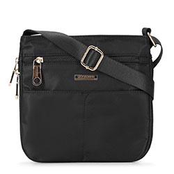 Маленькая женская нейлоновая сумка через плечо, черный, 92-4Y-107-1, Фотография 1