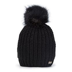 Женская плетеная шапка с помпоном, черный, 93-HF-002-1, Фотография 1