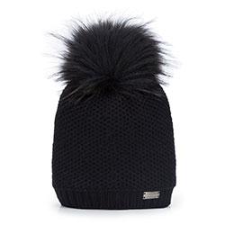 Женская шапка из вискозы с помпоном, черный, 93-HF-004-1, Фотография 1