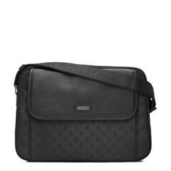 Женская сумка через плечо с кожаным клапаном и жаккардом с монограммой, черный, 93-4-246-1, Фотография 1