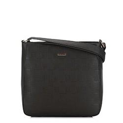 Женская сумка через плечо с тиснением, черный, 91-4Y-625-1, Фотография 1