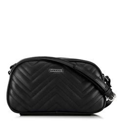 Женская сумка через плечо с зигзагообразной строчкой, черный, 92-4Y-601-1, Фотография 1