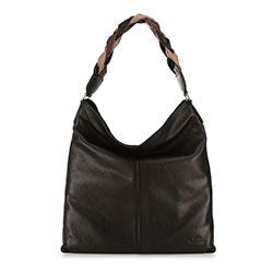 Кожаная сумка с плетеной ручкой, черный, 91-4E-320-1, Фотография 1