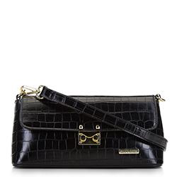 Женская сумка с клапаном с крокодиловой текстурой, черный, 91-4Y-411-1, Фотография 1