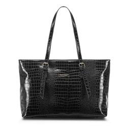 Сумка-шоппер с крокодиловой текстурой, черный, 91-4Y-715-1, Фотография 1