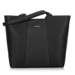 Женская сумка-шоппер с тиснением, черный, 91-4Y-624-1, Фотография 1