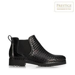 Женские кожаные ботинки с плетением, черный, 91-D-107-1-36, Фотография 1
