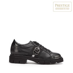 Женские кожаные кроссовки с цепочкой, черный, 93-D-109-1-37, Фотография 1