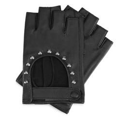 Женские перчатки с обрезанным пальцем с заклепками, черный, 46-6-306-1-M, Фотография 1