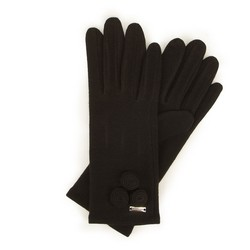 Женские шерстяные перчатки с круглыми деталями, черный, 47-6-114-1-U, Фотография 1