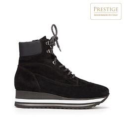 Женские замшевые ботинки на платформе с застежкой-молнией, черный, 93-D-650-1-39, Фотография 1