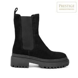 Женские замшевые ботинки на толстой подошве, черный, 93-D-302-1-39, Фотография 1