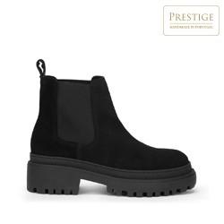 Женские замшевые ботинки на толстой подошве, черный, 93-D-303-1-39, Фотография 1