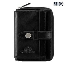 Женский кожаный кошелек с ремешком, черный, 26-1-440-1, Фотография 1