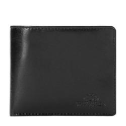 Мвленький кожаный кошелек с логотипом, черный, 26-1-436-1, Фотография 1