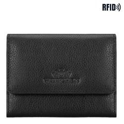 Женский кожаный кошелек на кнопке, черный, 21-1-034-10L, Фотография 1