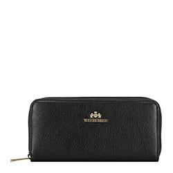 Женский кожаный кошелек на молнии, черный, 02-1-393-G1, Фотография 1