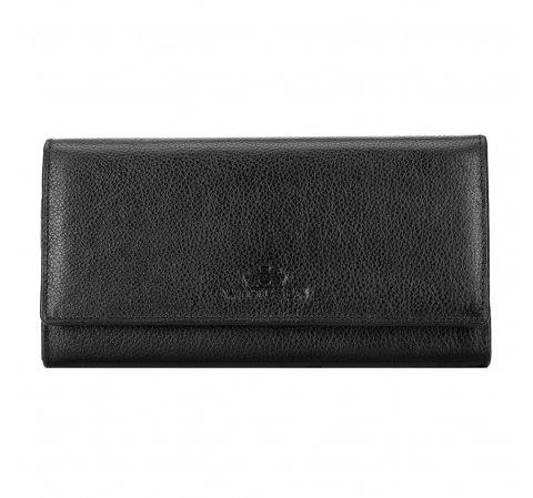 Женский кожаный кошелек с карманом на молнии, черный, 21-1-052-10L, Фотография 1