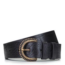 Женский кожаный ремень с плетеной металлической пряжкой, черный, 92-8D-309-1-XL, Фотография 1