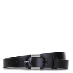 Женский кожаный ремень с овальной пряжкой, черный, 92-8D-305-1-S, Фотография 1