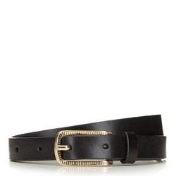 Женский кожаный ремень с золотой пряжкой, черный, 91-8D-307-1-L, Фотография 1